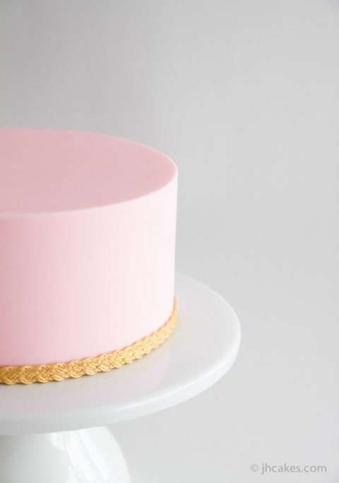 Pink Cake Gold Trim - JH Cake Co.